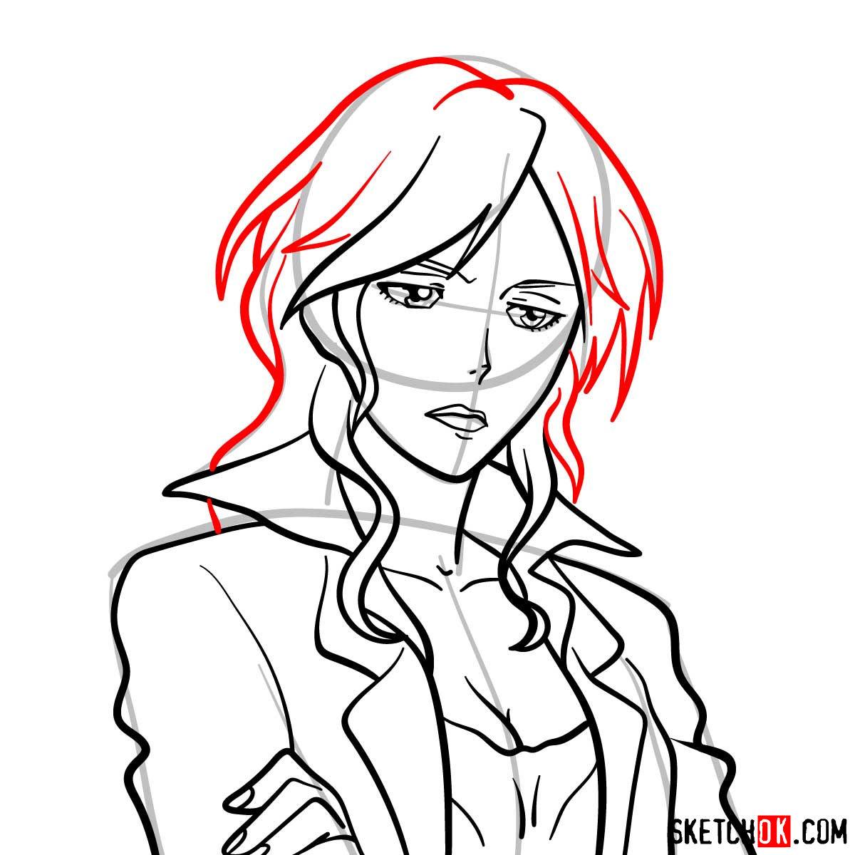 How to draw Shion Karanomori | Psycho Pass - step 09