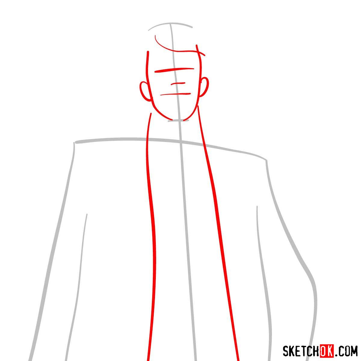 How to draw Tomomi Masaoka | Psycho Pass - step 02