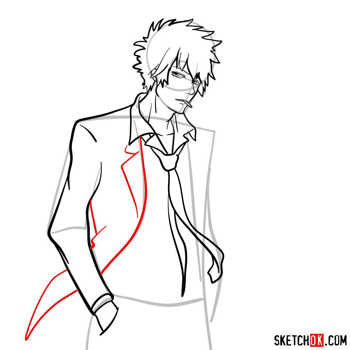 How to draw Shinya Kogami   Psycho Pass - step 10