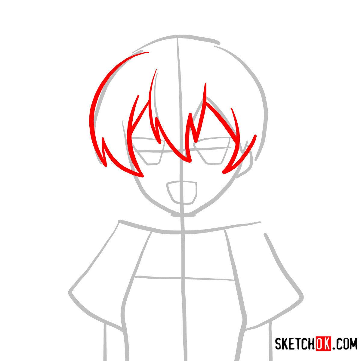 How to draw Mine   Akame Ga Kill - step 03
