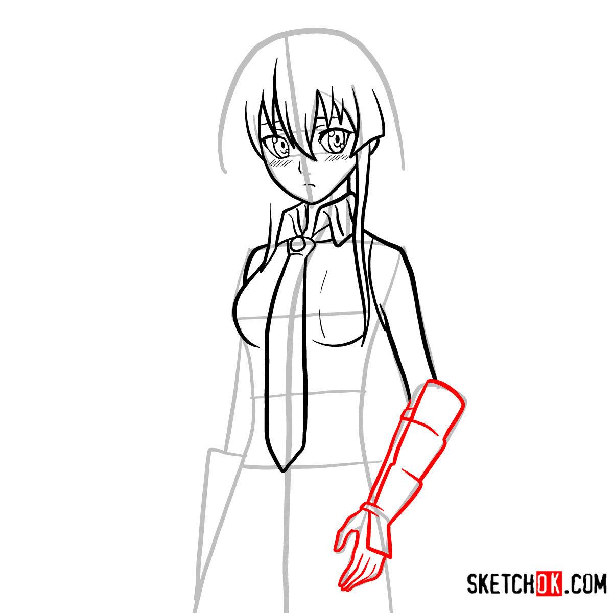 How to draw Akame   Akame Ga Kill - step 10
