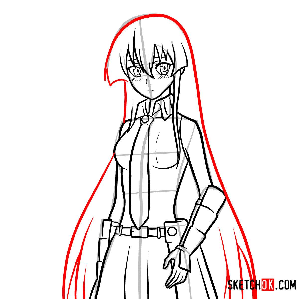 How to draw Akame   Akame Ga Kill - step 13