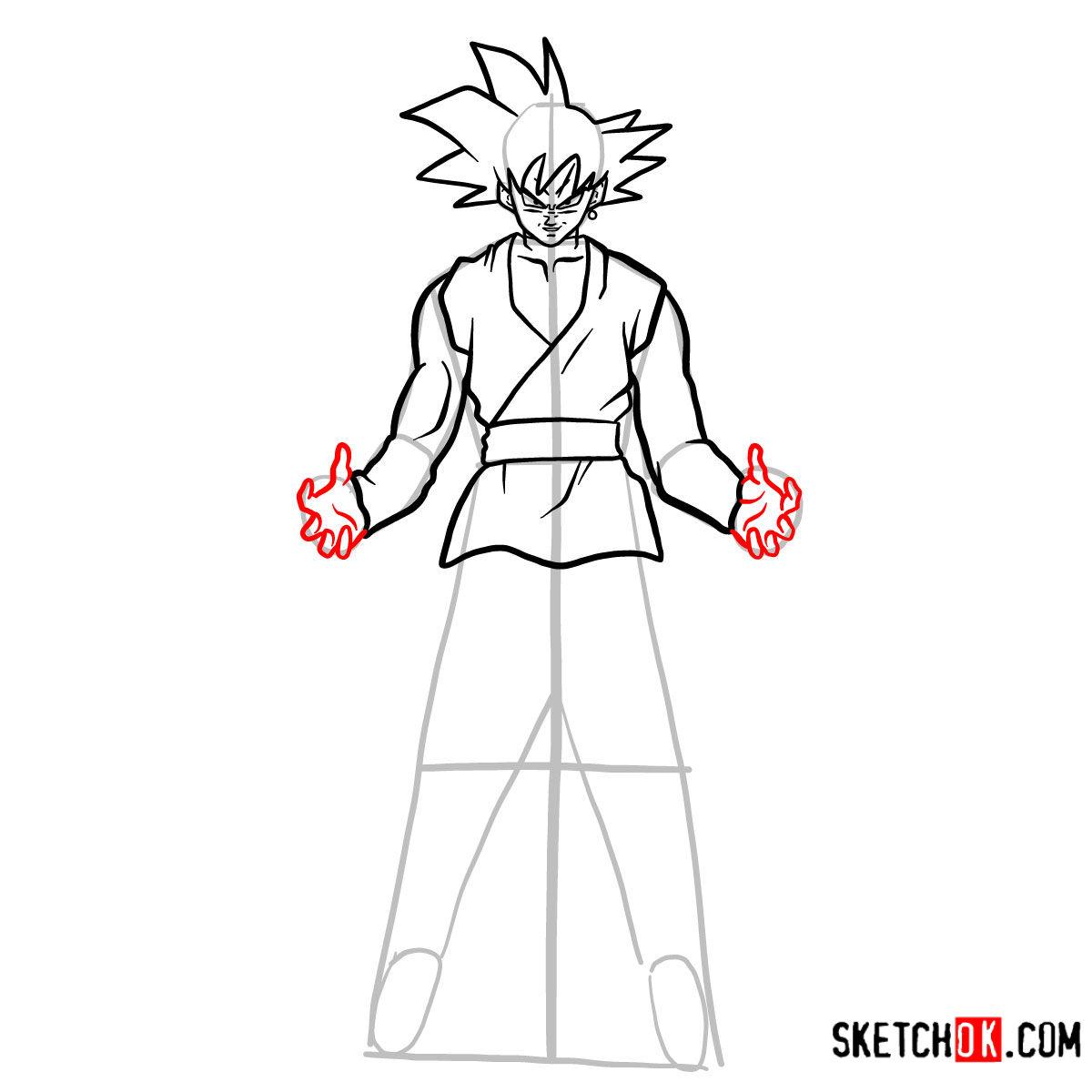 How to draw Goku Black   Dragon Ball anime - step 11