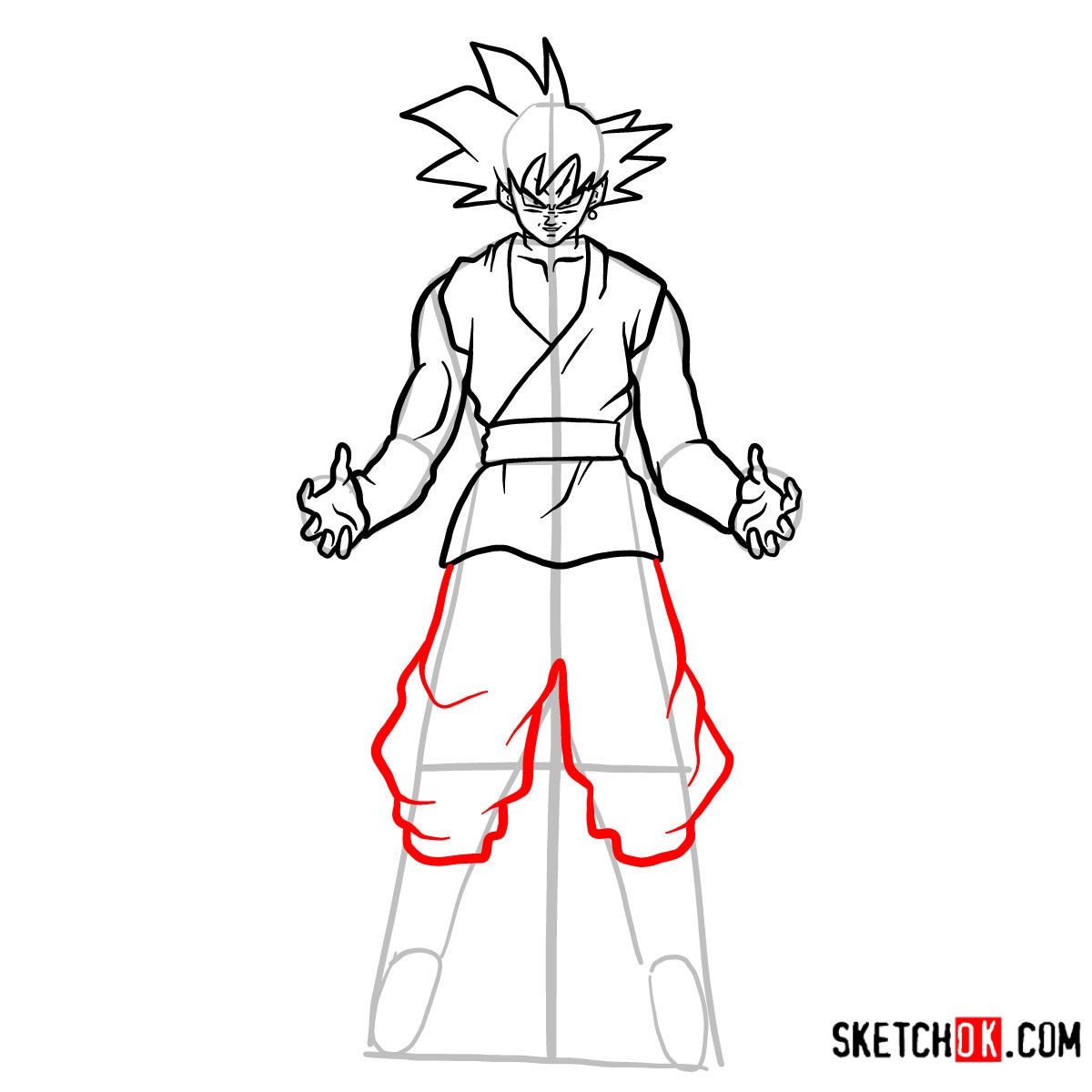 How to draw Goku Black   Dragon Ball anime - step 12