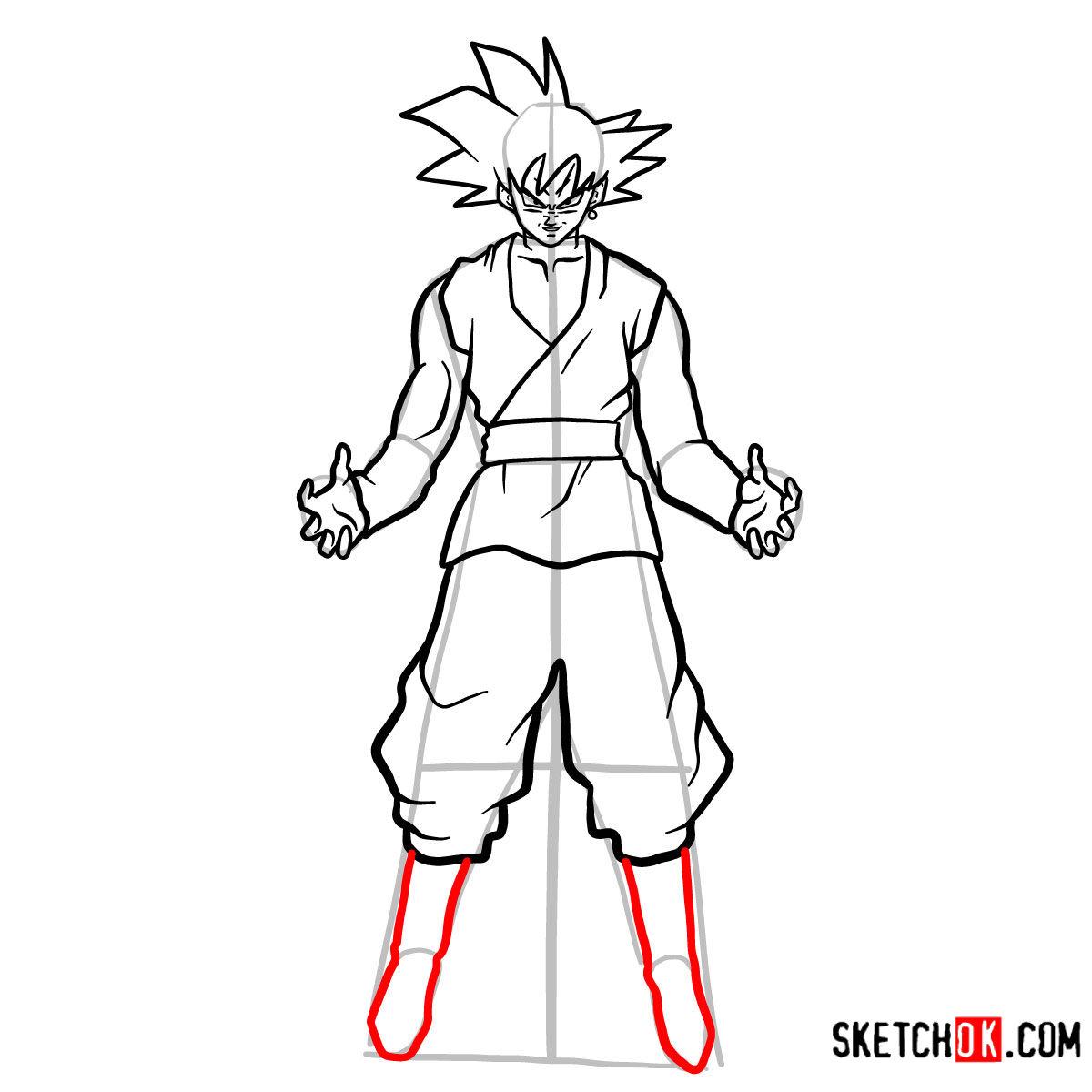 How to draw Goku Black   Dragon Ball anime - step 13