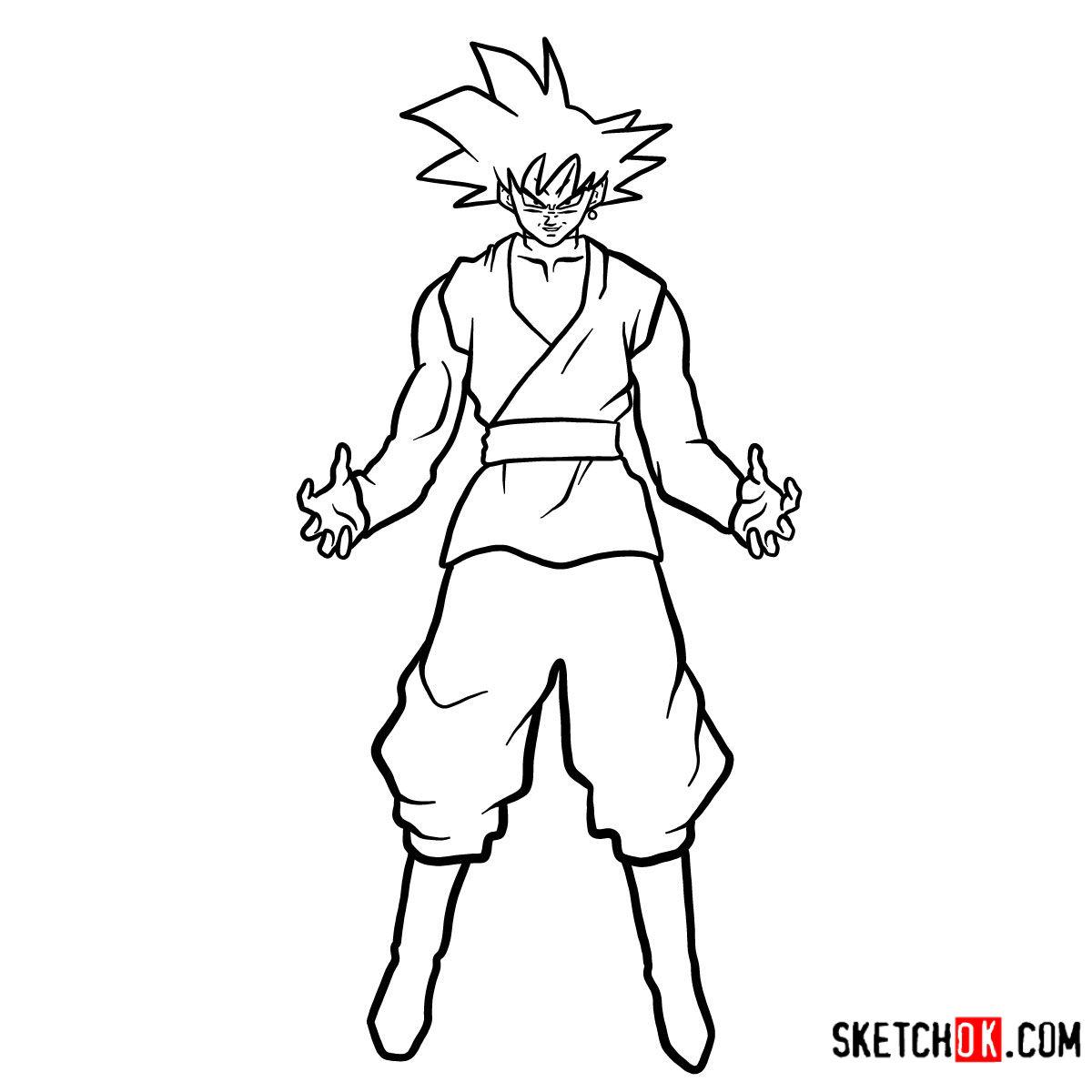How to draw Goku Black   Dragon Ball anime - step 14