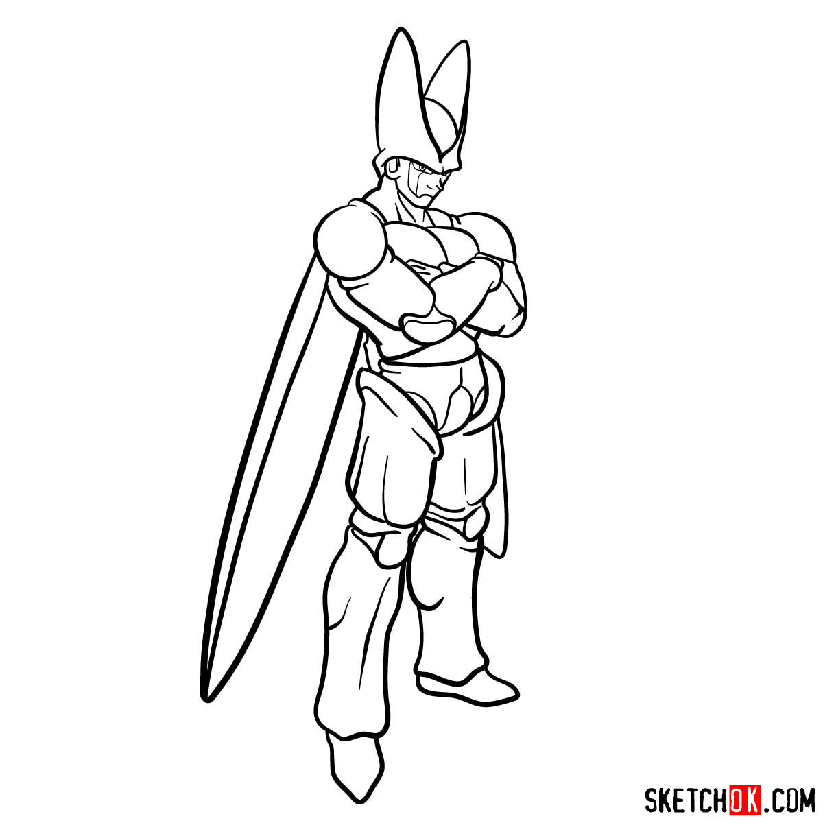 How to draw Cell | Dragon Ball anime - step 14