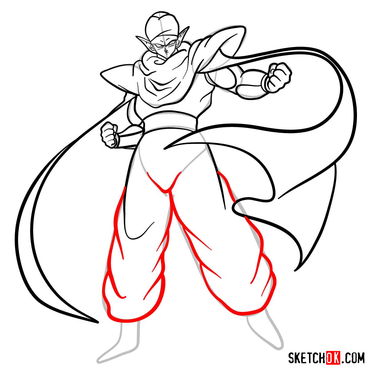 How to draw Piccolo | Dragon Ball anime - step 12