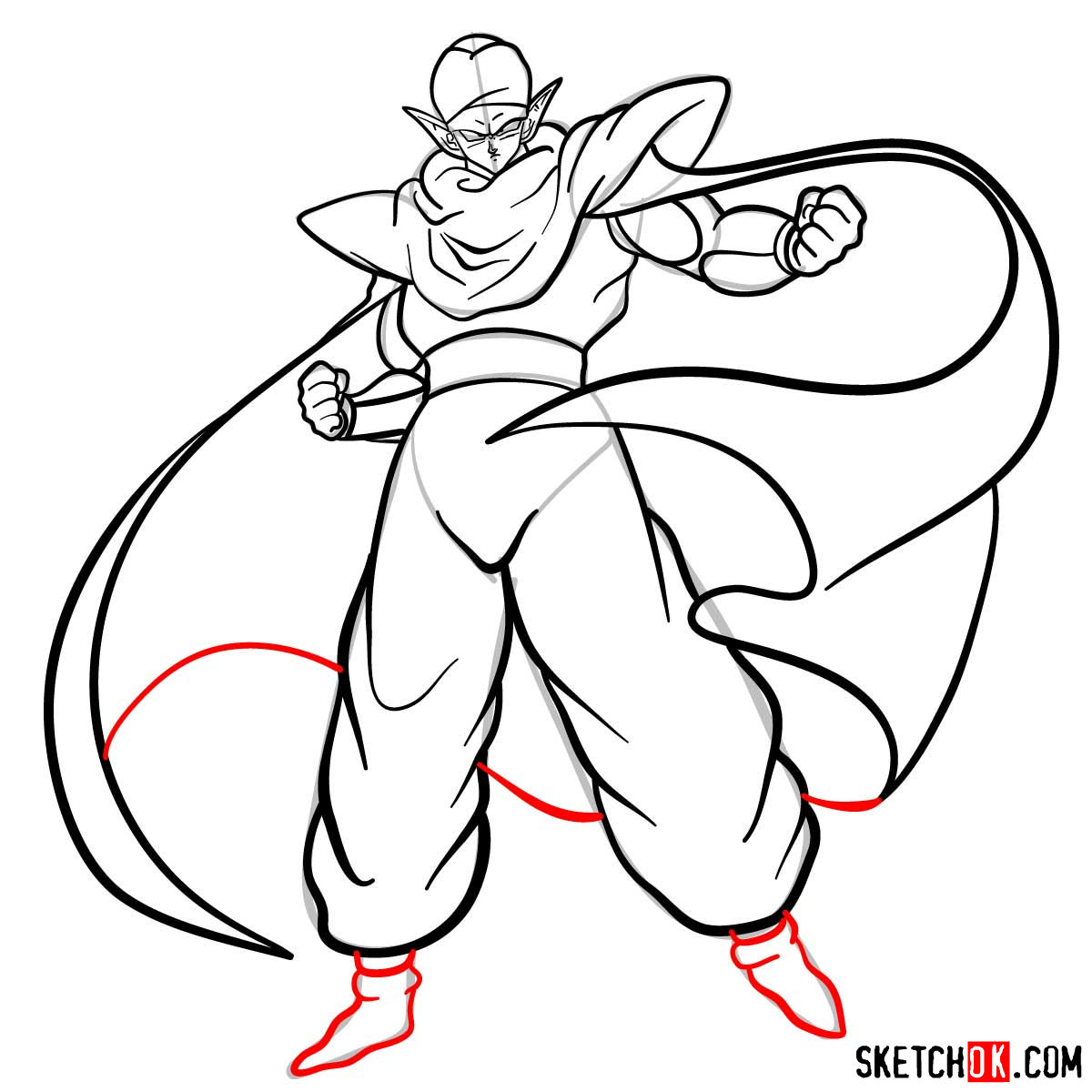 How to draw Piccolo | Dragon Ball anime - step 13