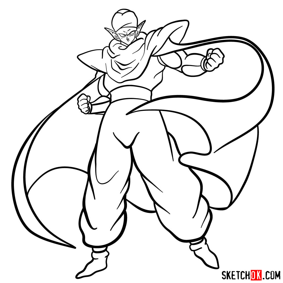 How to draw Piccolo | Dragon Ball anime - step 14