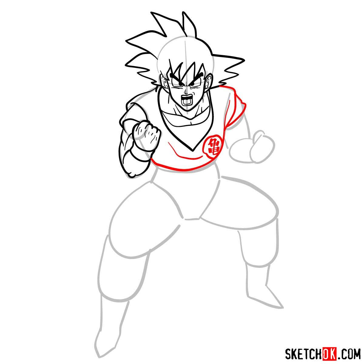 How to draw Goku | Dragon Ball anime - step 10