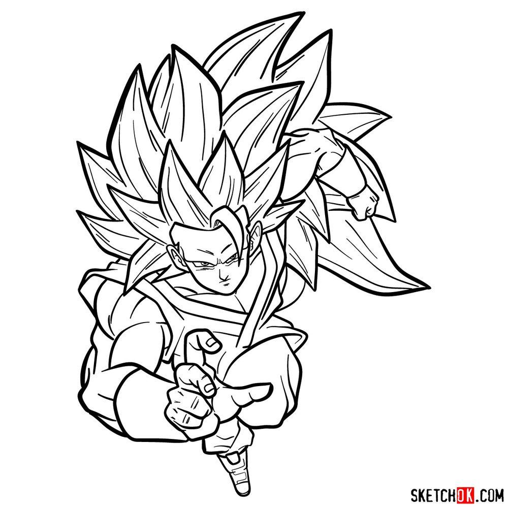 How to draw Super Saiyan 3 (Goku)