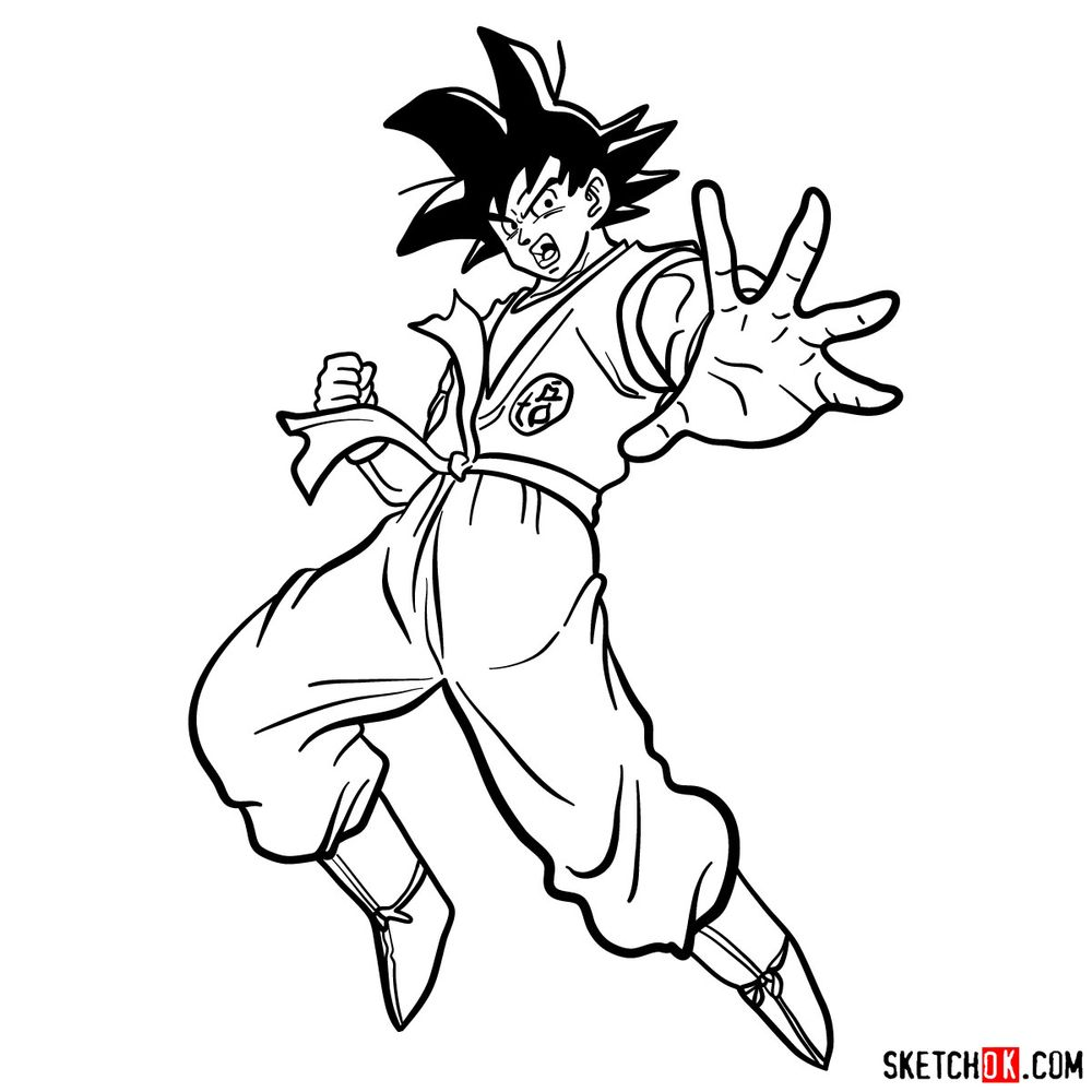 How to draw Goku in full growth