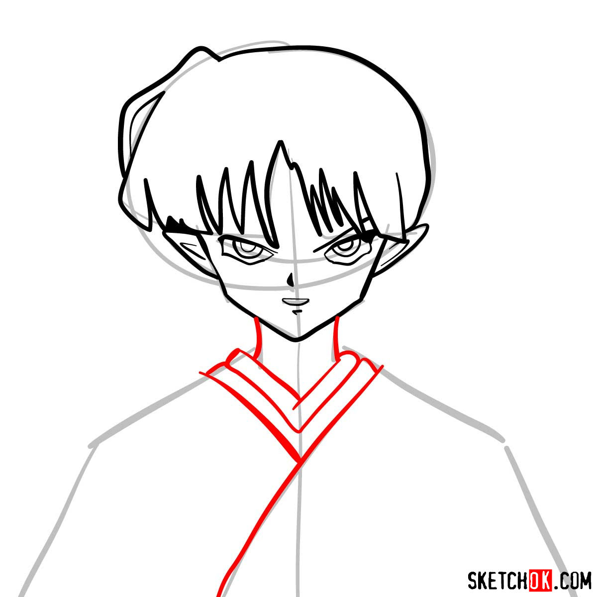 How to draw Kagura | Inuyasha - step 06