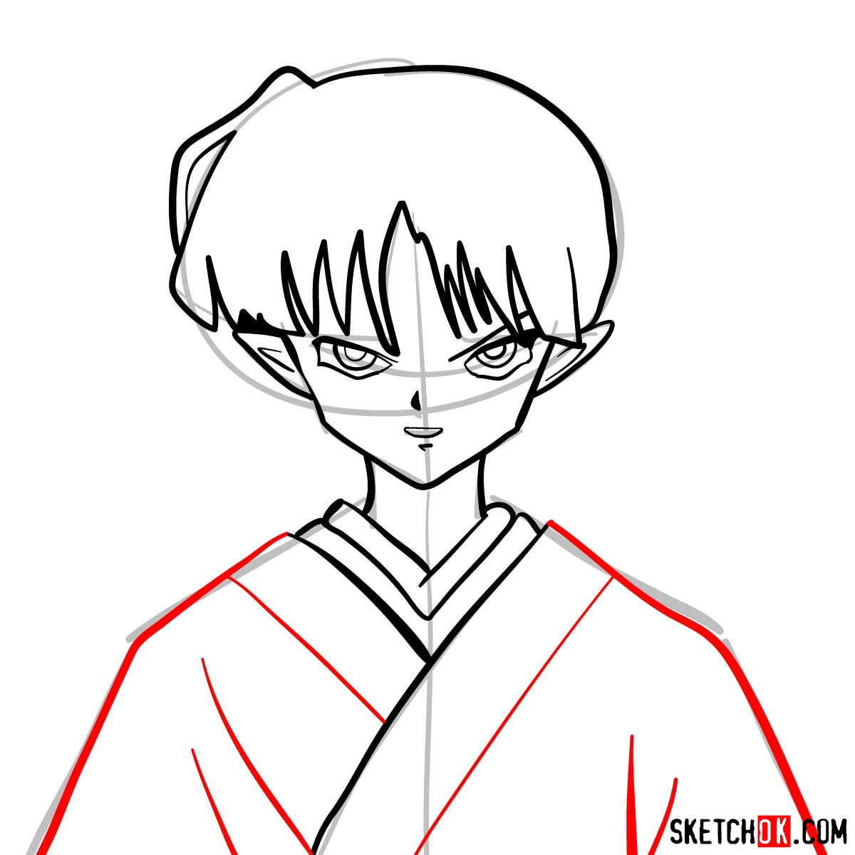 How to draw Kagura | Inuyasha - step 07