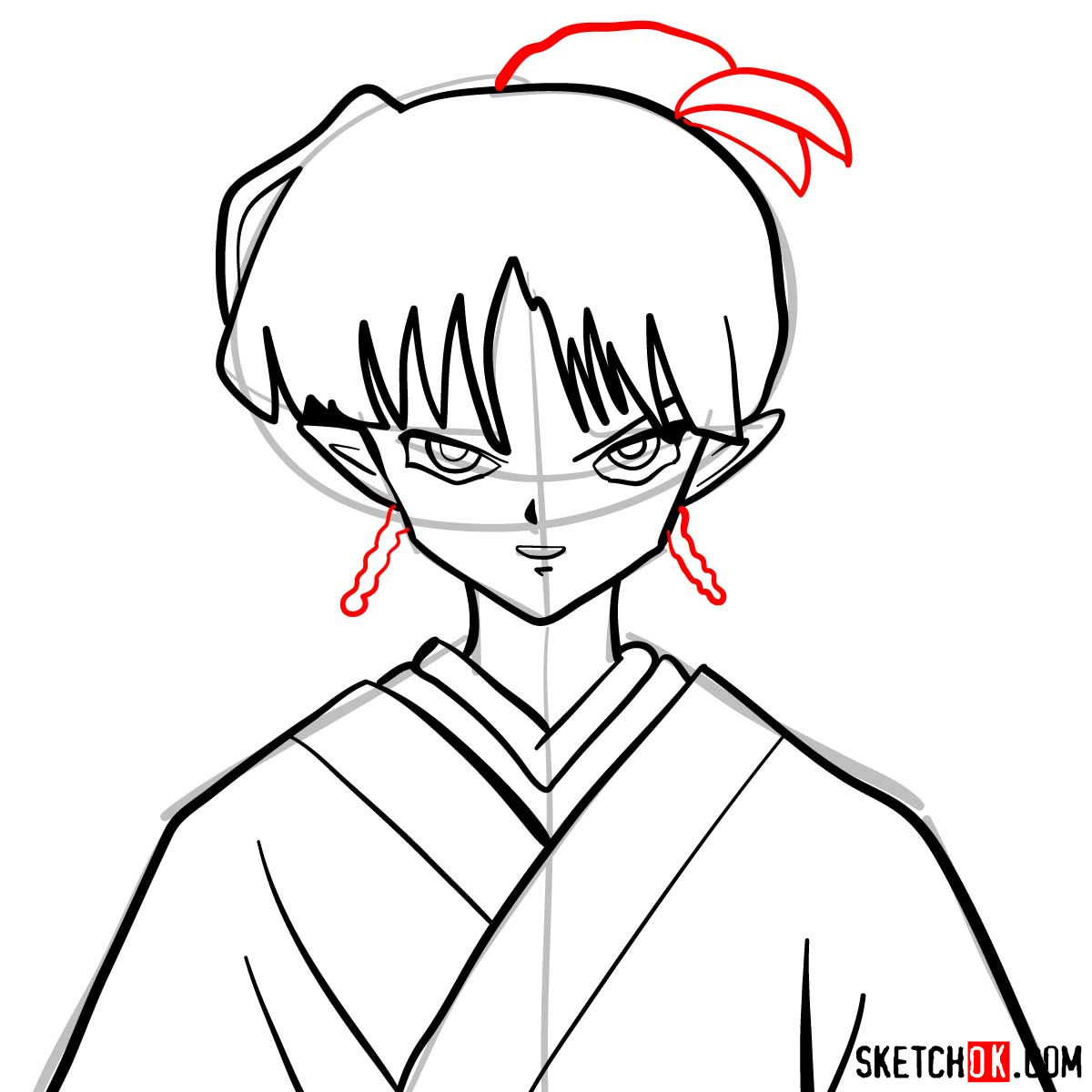 How to draw Kagura | Inuyasha - step 08