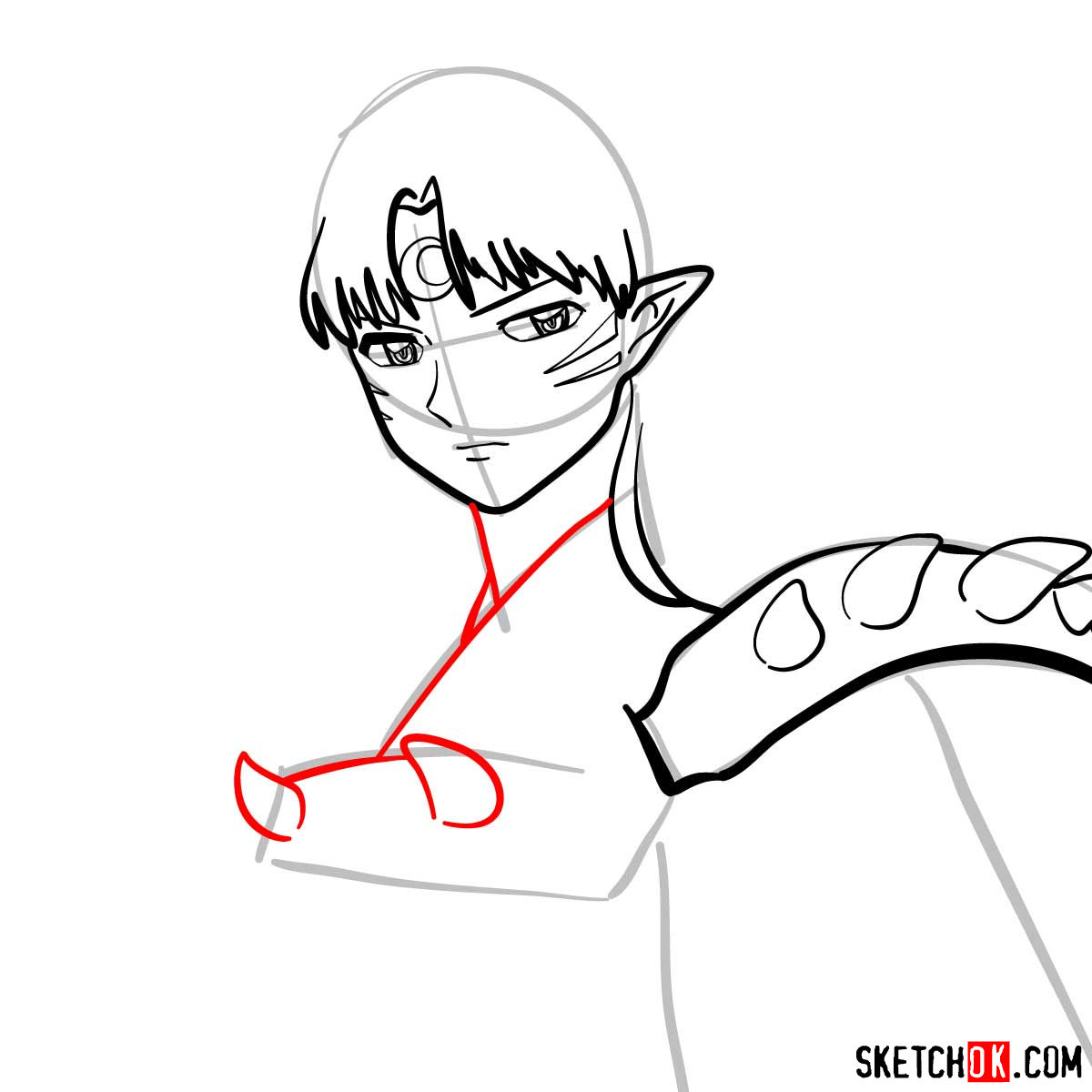 How to draw Sesshomaru | Inuyasha - step 08