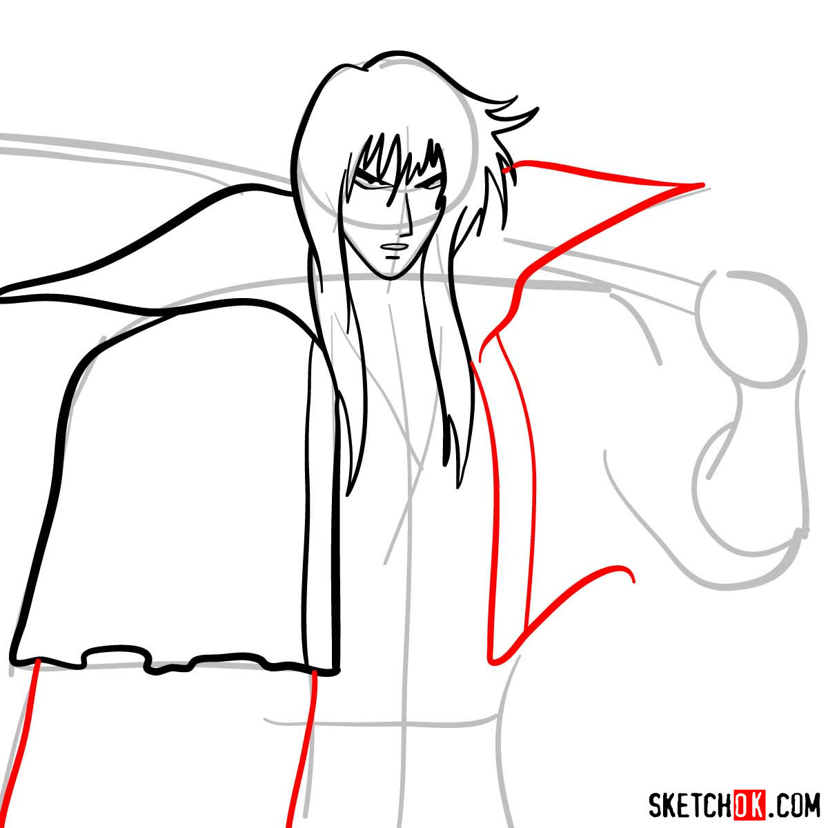 How to draw Hiko Seijuro XIII | Rurouni Kenshin - step 07