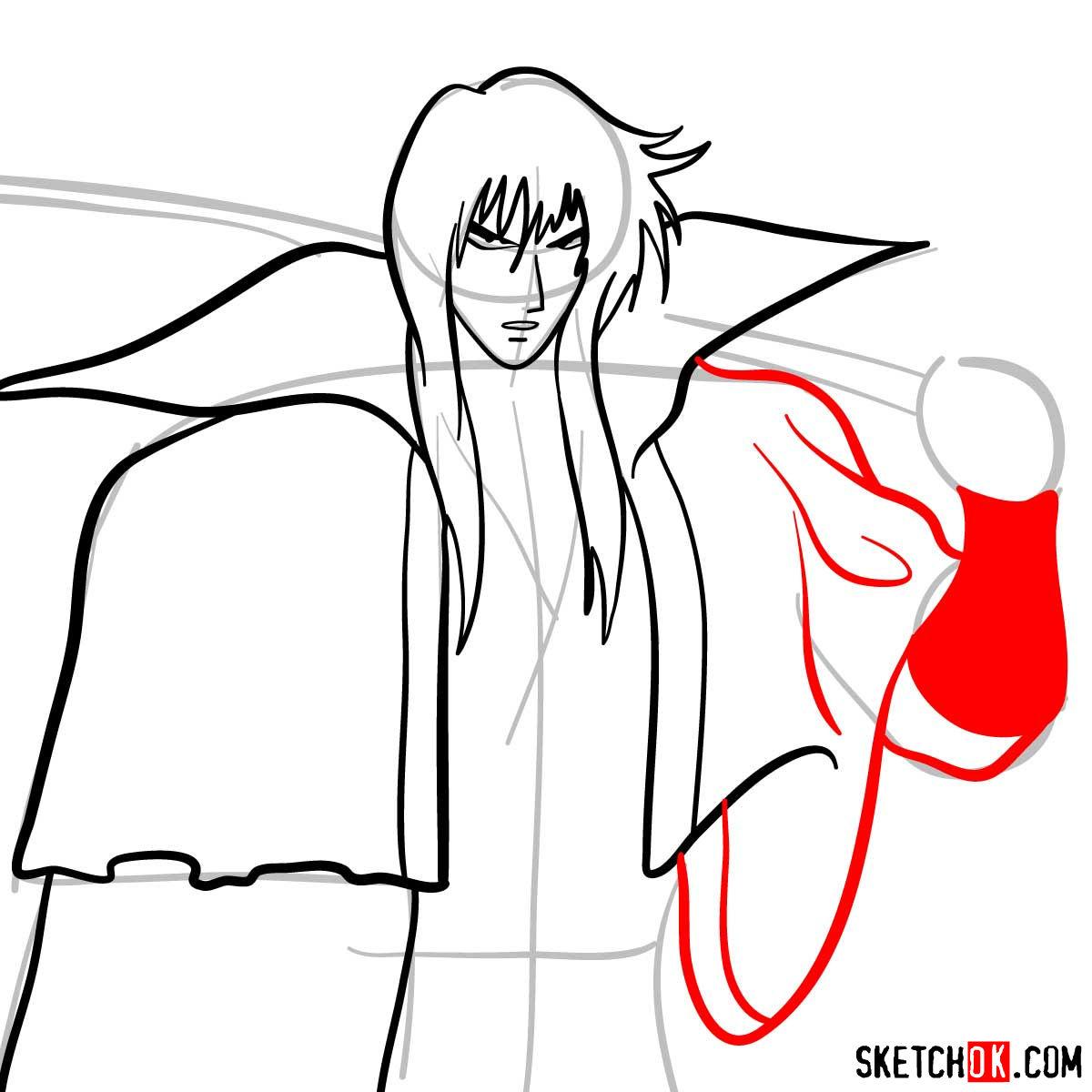 How to draw Hiko Seijuro XIII | Rurouni Kenshin - step 08