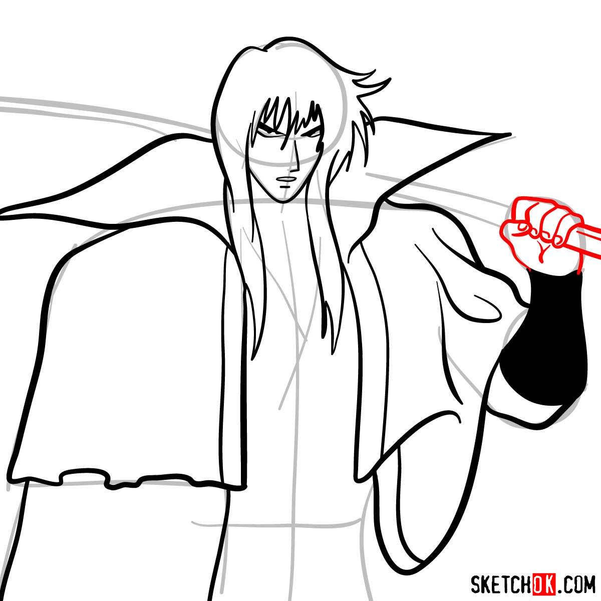 How to draw Hiko Seijuro XIII | Rurouni Kenshin - step 09