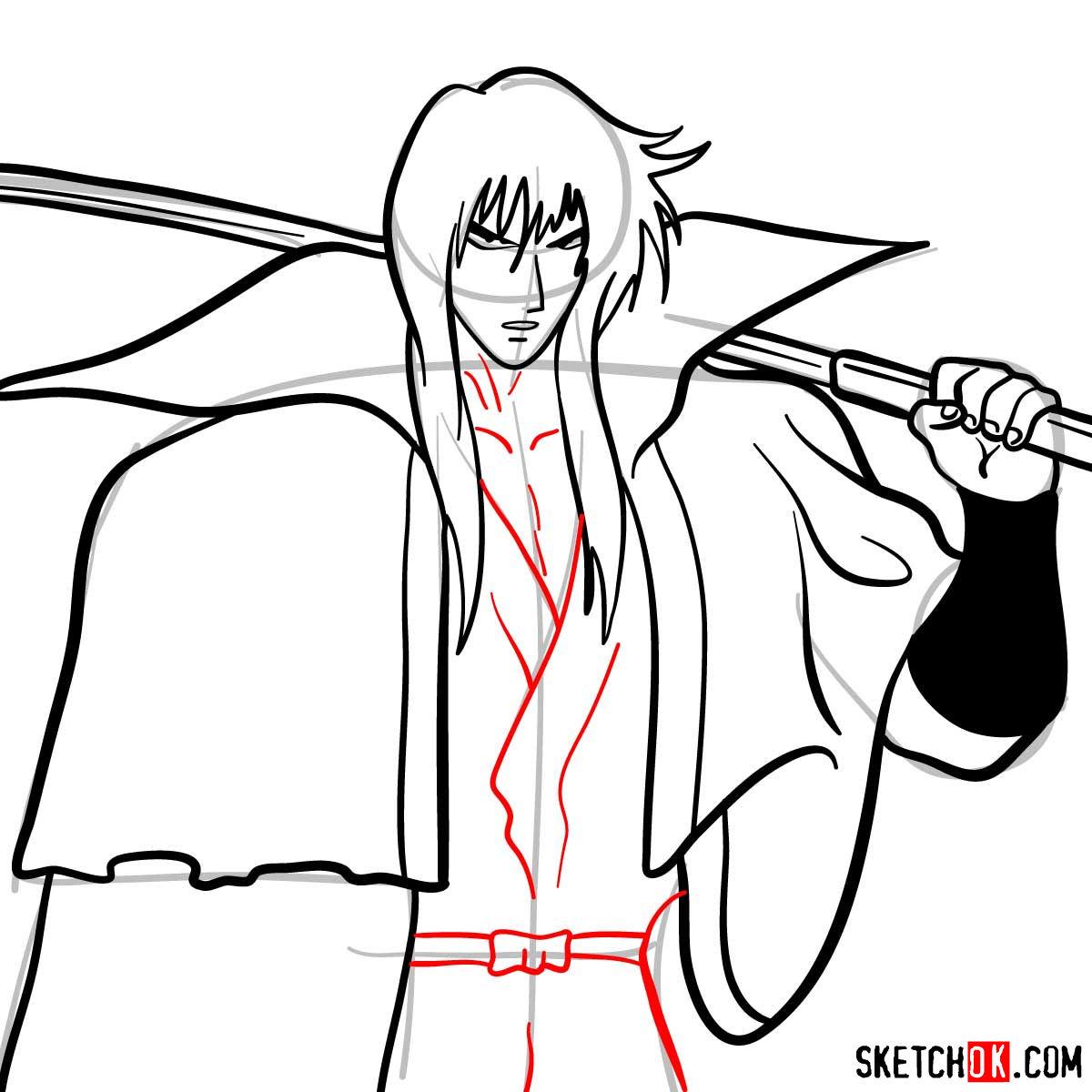 How to draw Hiko Seijuro XIII | Rurouni Kenshin - step 11