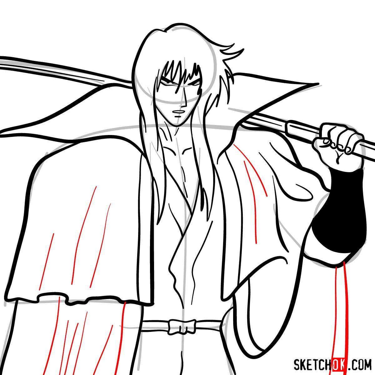 How to draw Hiko Seijuro XIII | Rurouni Kenshin - step 12