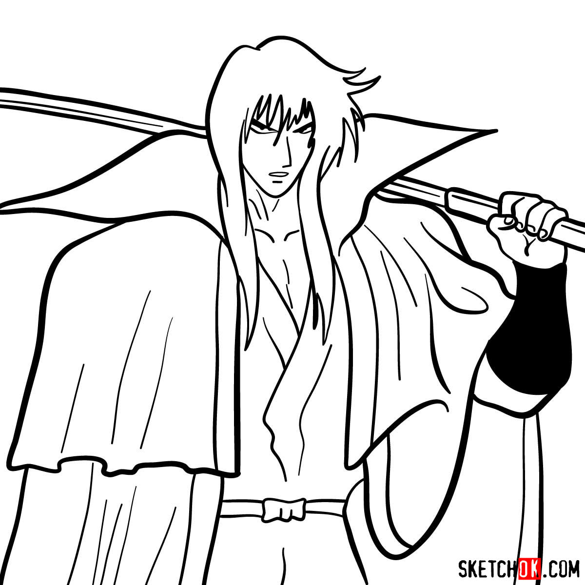 How to draw Hiko Seijuro XIII | Rurouni Kenshin