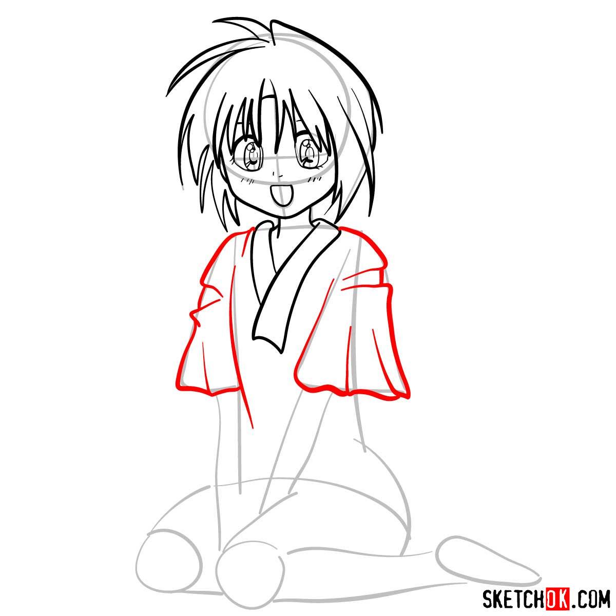 How to draw Makimachi Misao | Rurouni Kenshin - step 07