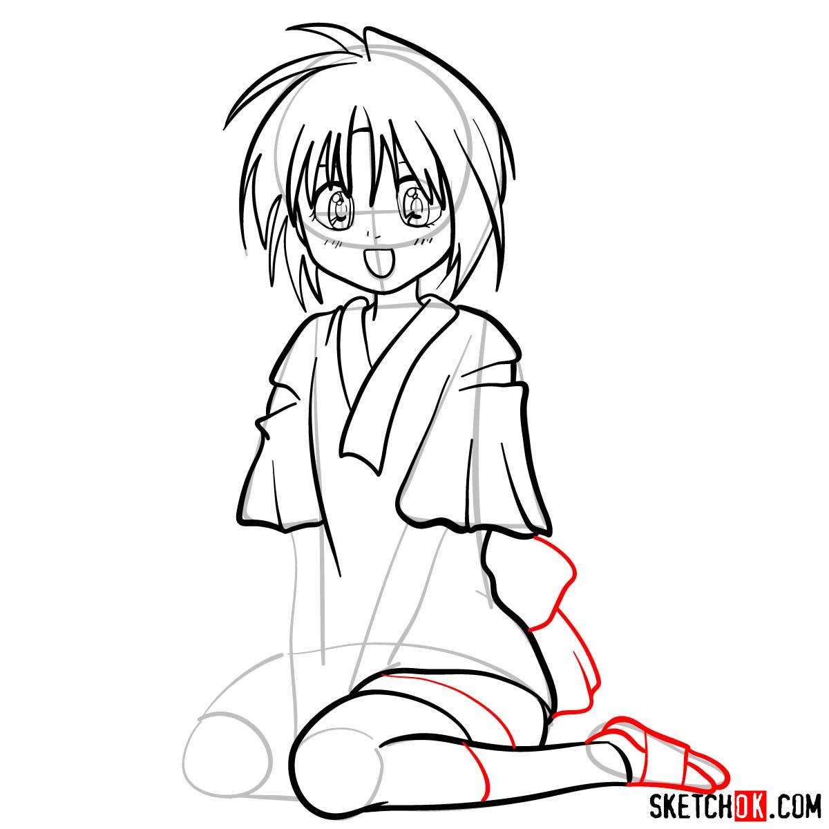 How to draw Makimachi Misao | Rurouni Kenshin - step 09