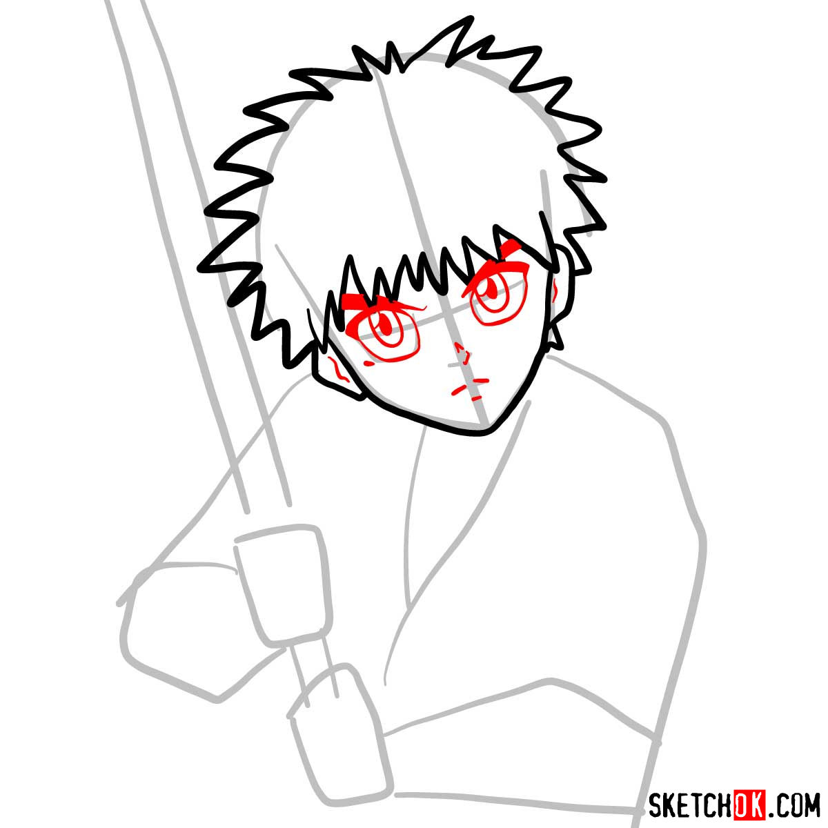 How to draw Myojin Yahiko | Rurouni Kenshin - step 05