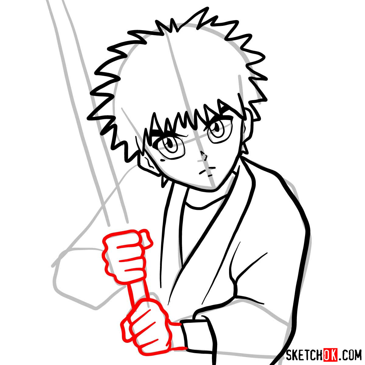 How to draw Myojin Yahiko | Rurouni Kenshin - step 08