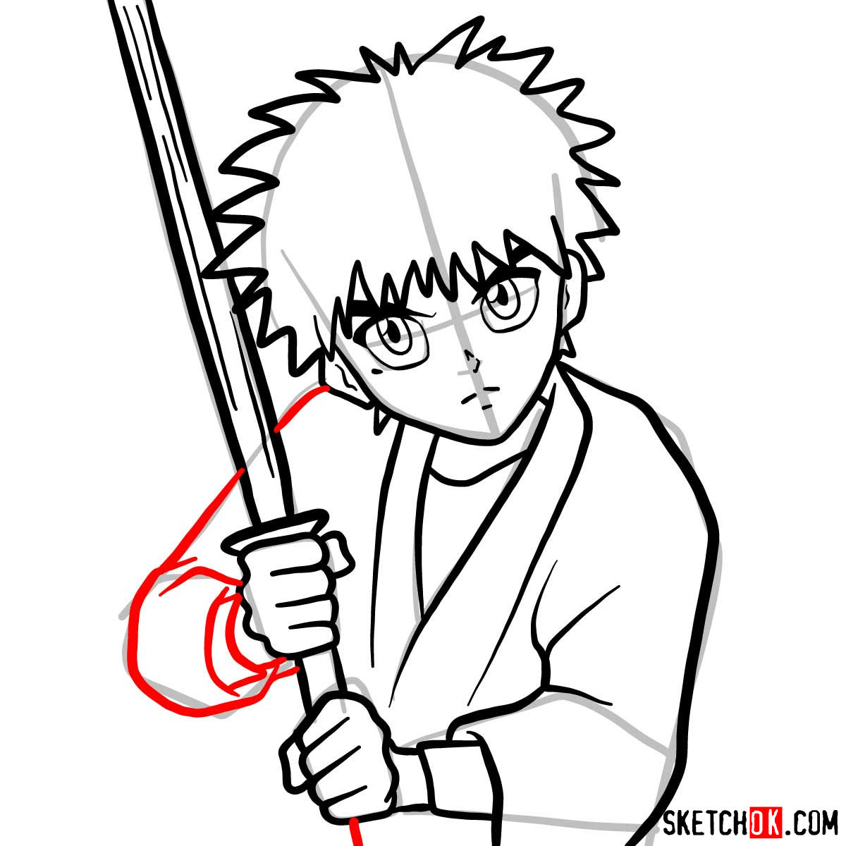 How to draw Myojin Yahiko | Rurouni Kenshin - step 10