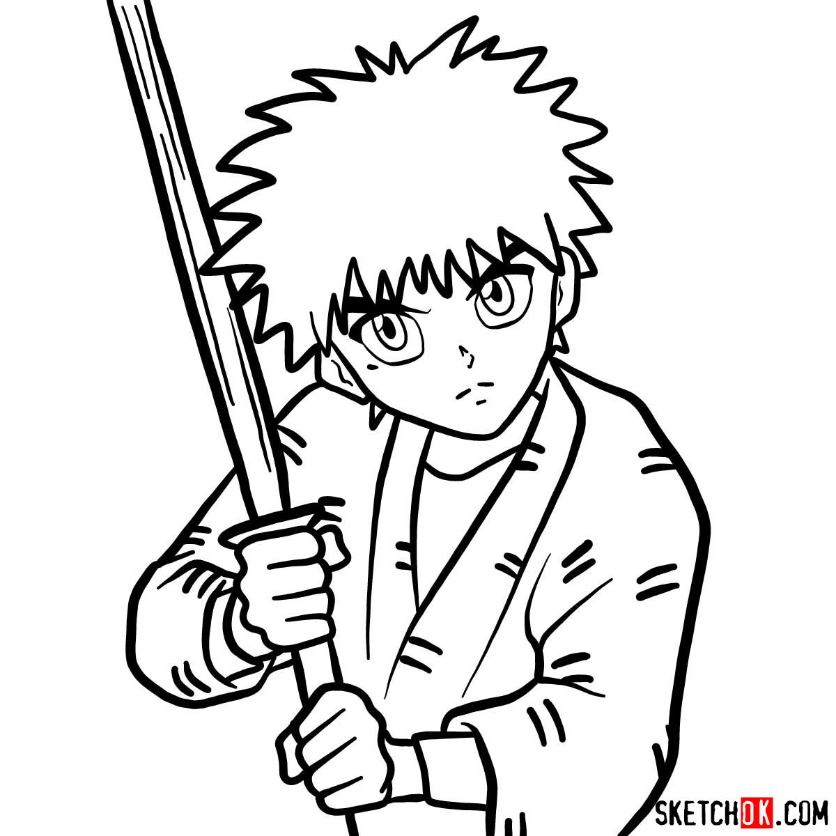 How to draw Myojin Yahiko | Rurouni Kenshin