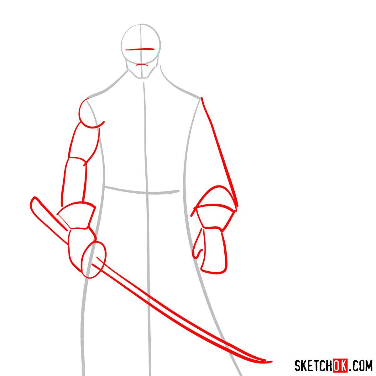 How to draw Shishio Makoto | Rurouni Kenshin - step 02