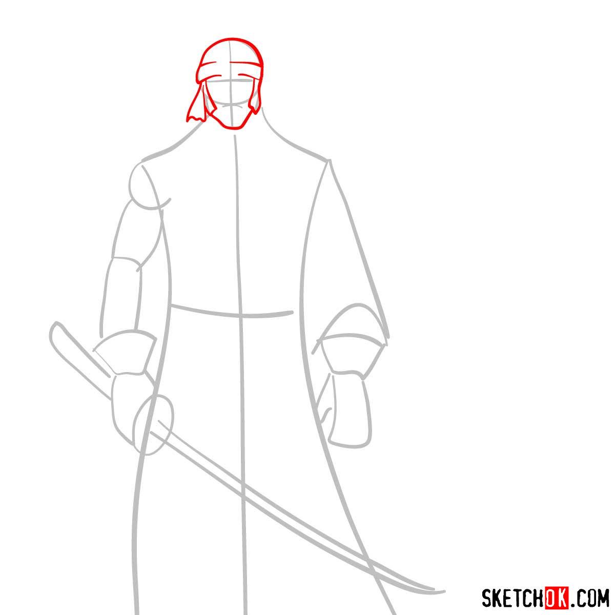 How to draw Shishio Makoto | Rurouni Kenshin - step 03