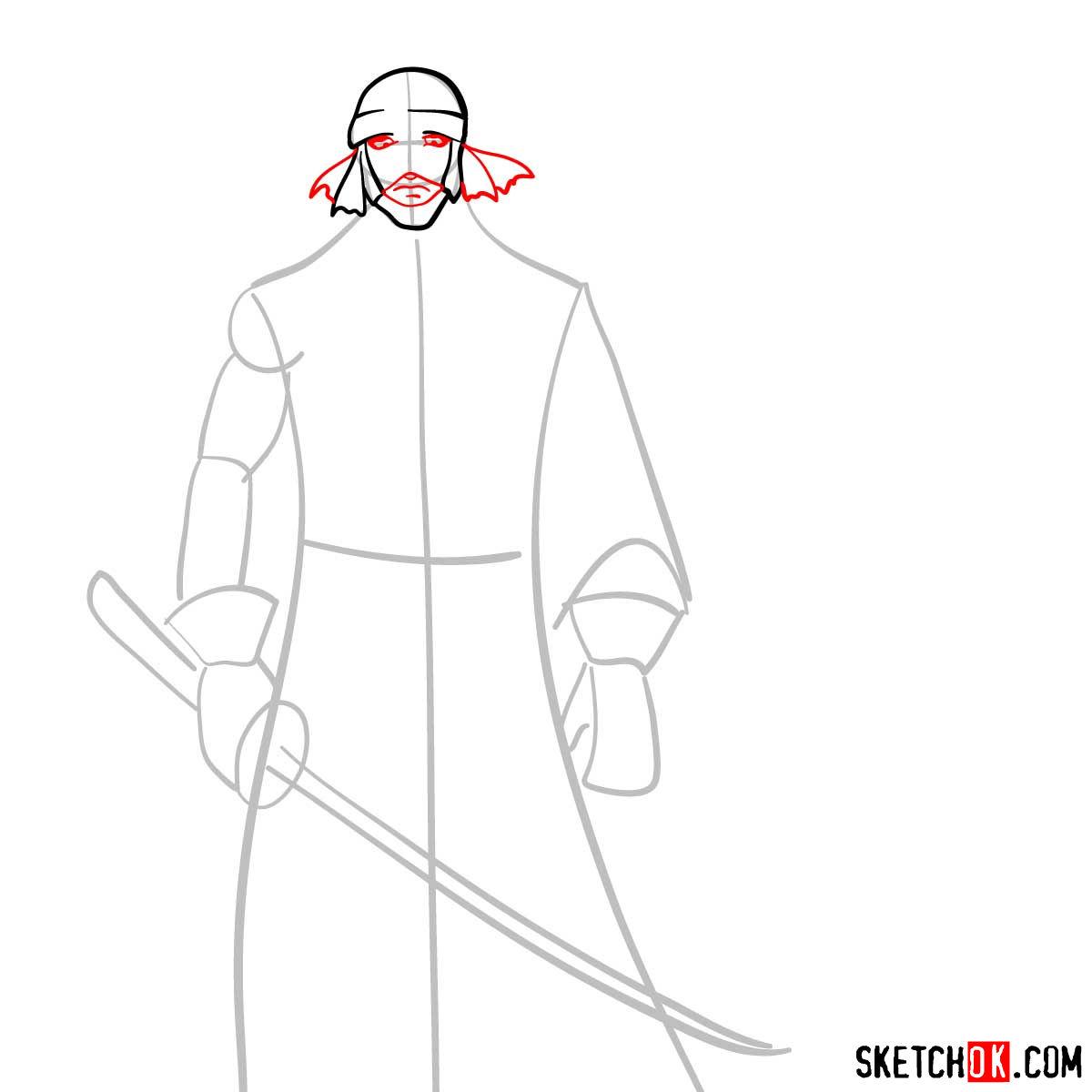 How to draw Shishio Makoto | Rurouni Kenshin - step 04