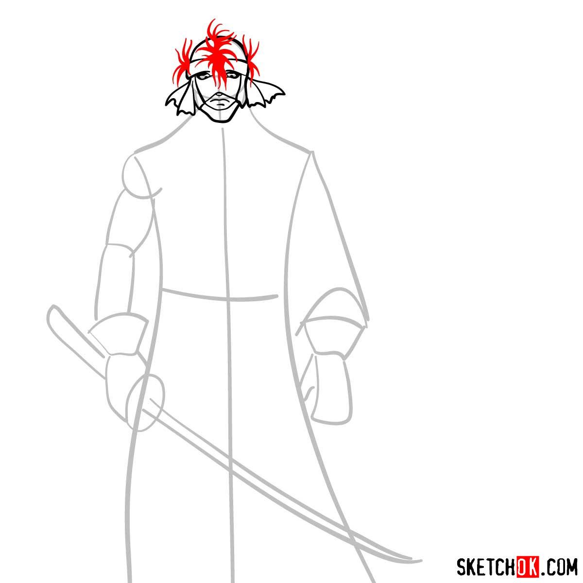 How to draw Shishio Makoto | Rurouni Kenshin - step 05