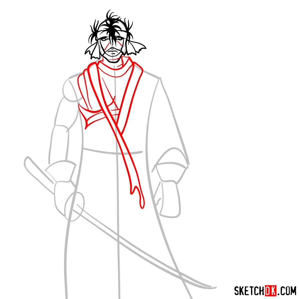 How to draw Shishio Makoto | Rurouni Kenshin - step 06