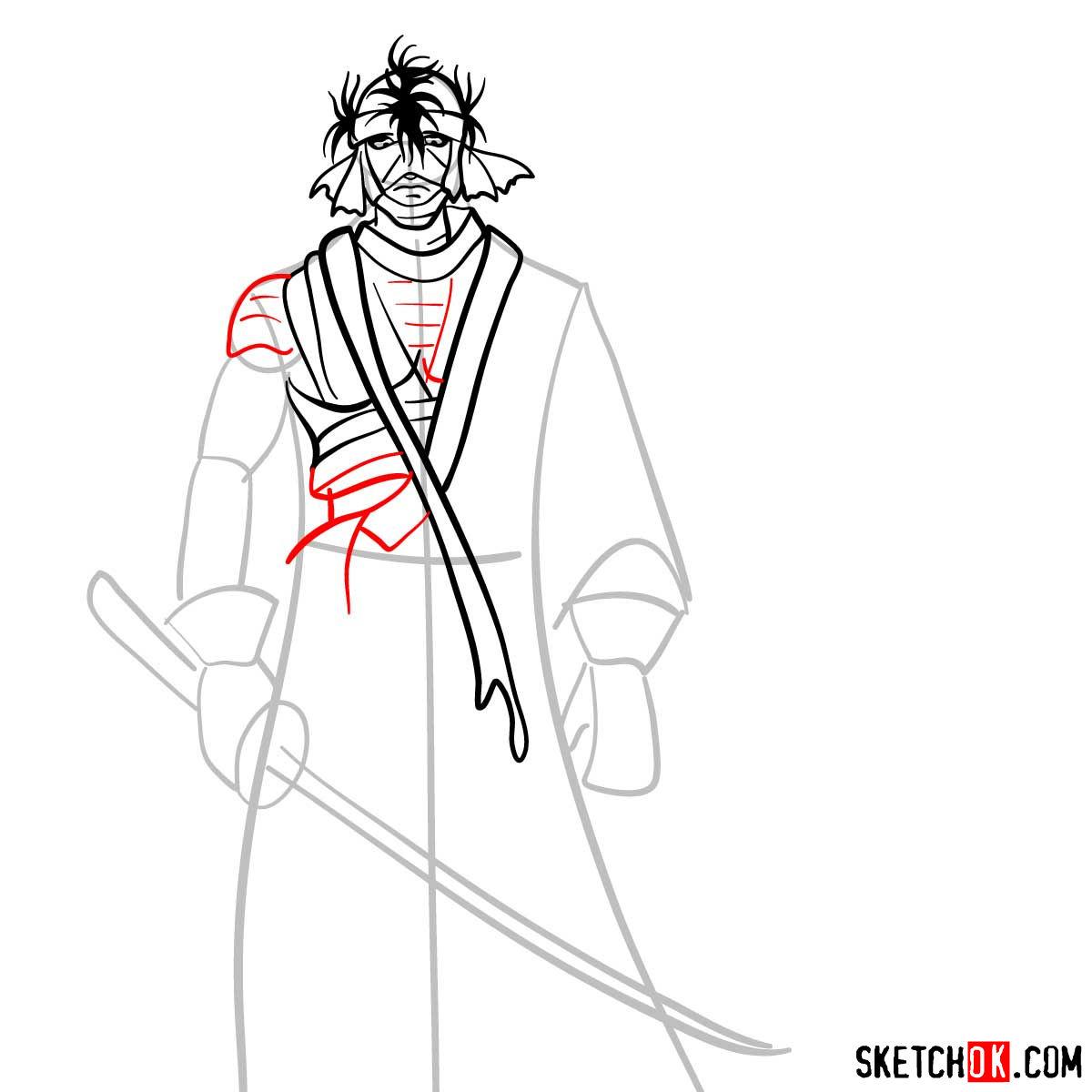 How to draw Shishio Makoto | Rurouni Kenshin - step 07
