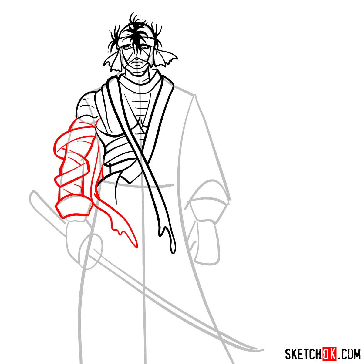How to draw Shishio Makoto | Rurouni Kenshin - step 08