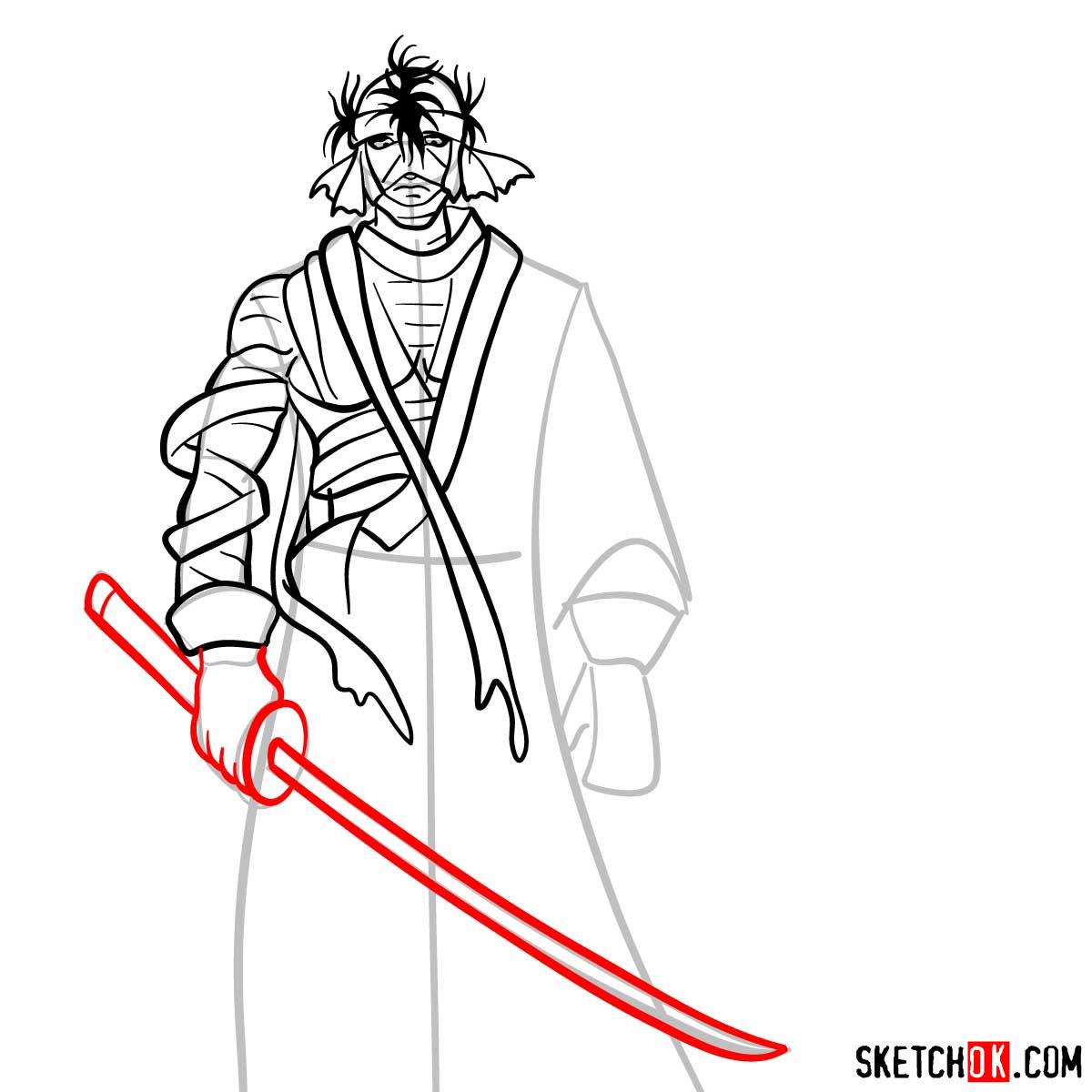 How to draw Shishio Makoto | Rurouni Kenshin - step 09