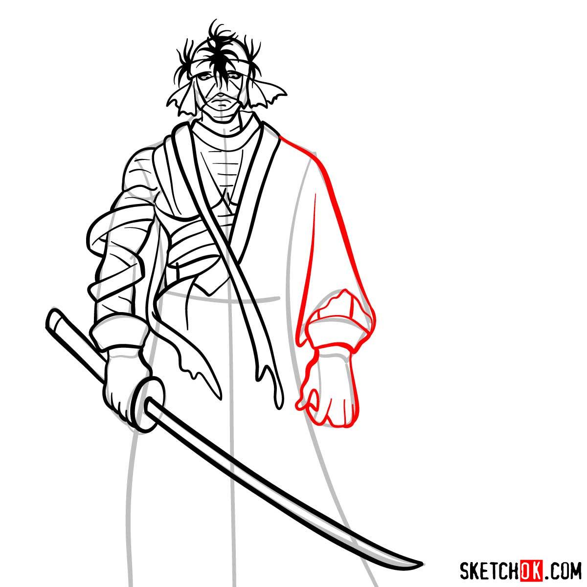 How to draw Shishio Makoto | Rurouni Kenshin - step 10