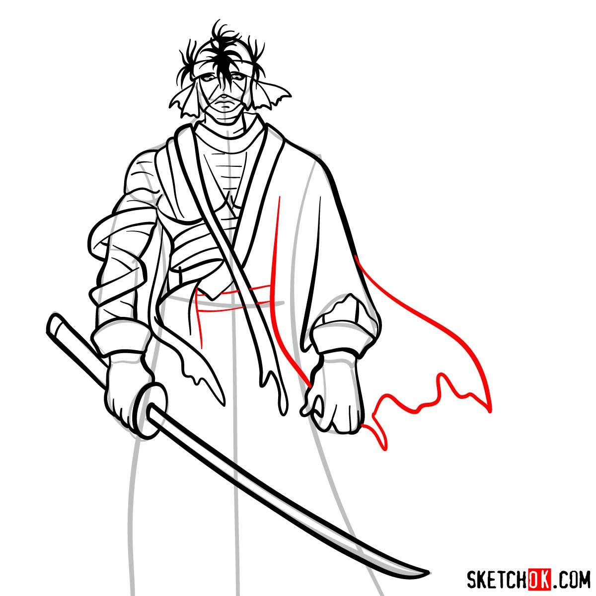 How to draw Shishio Makoto | Rurouni Kenshin - step 11