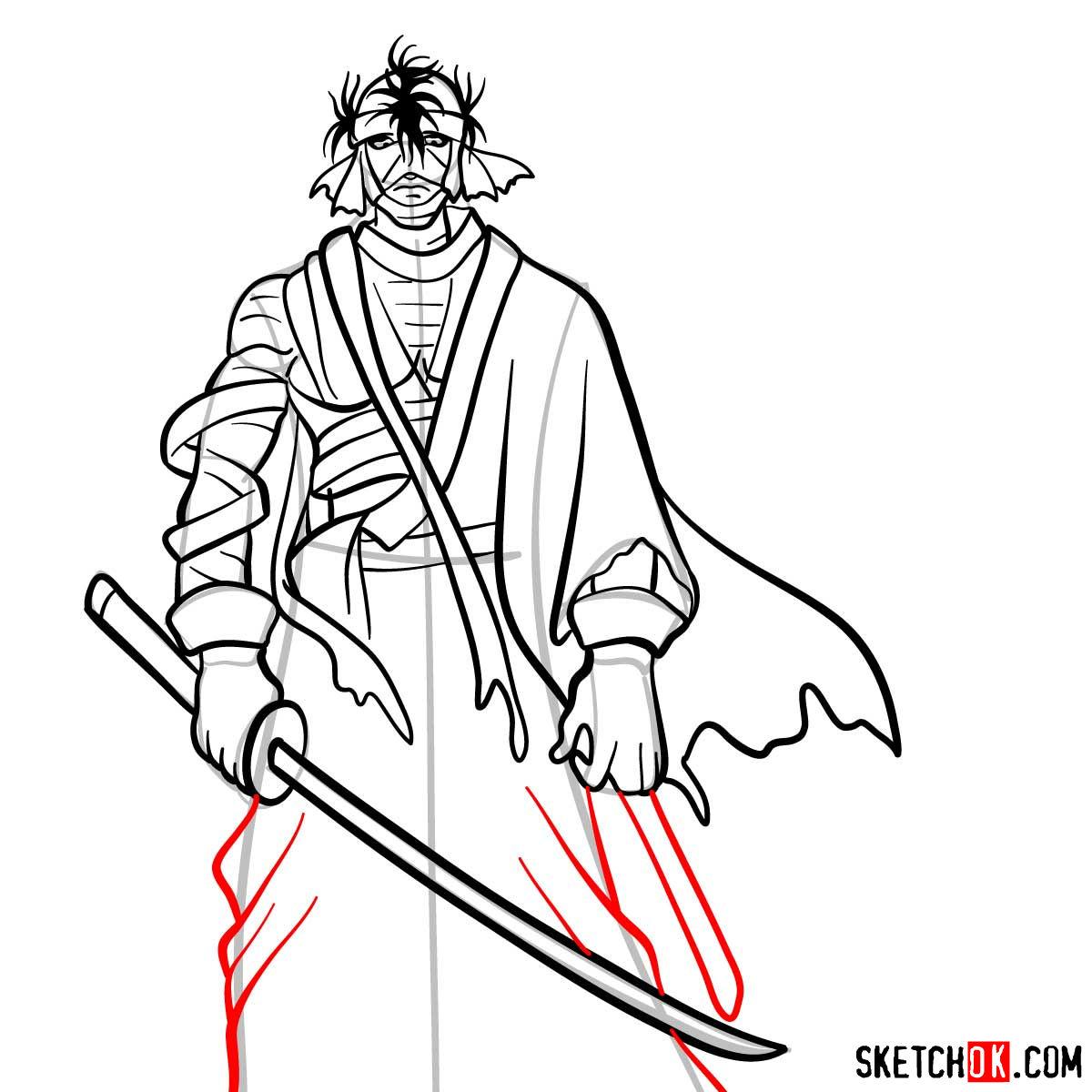 How to draw Shishio Makoto | Rurouni Kenshin - step 12