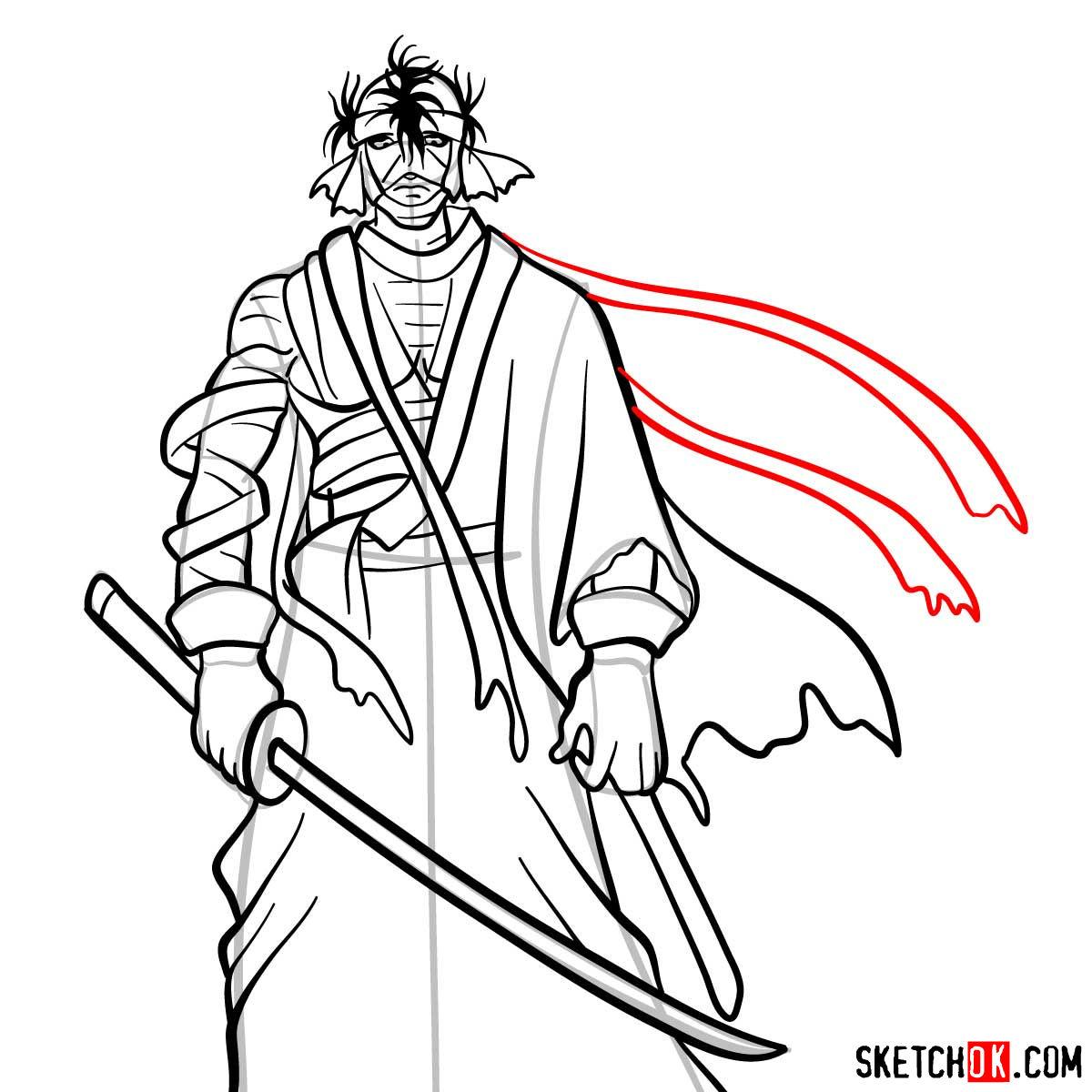 How to draw Shishio Makoto | Rurouni Kenshin - step 13