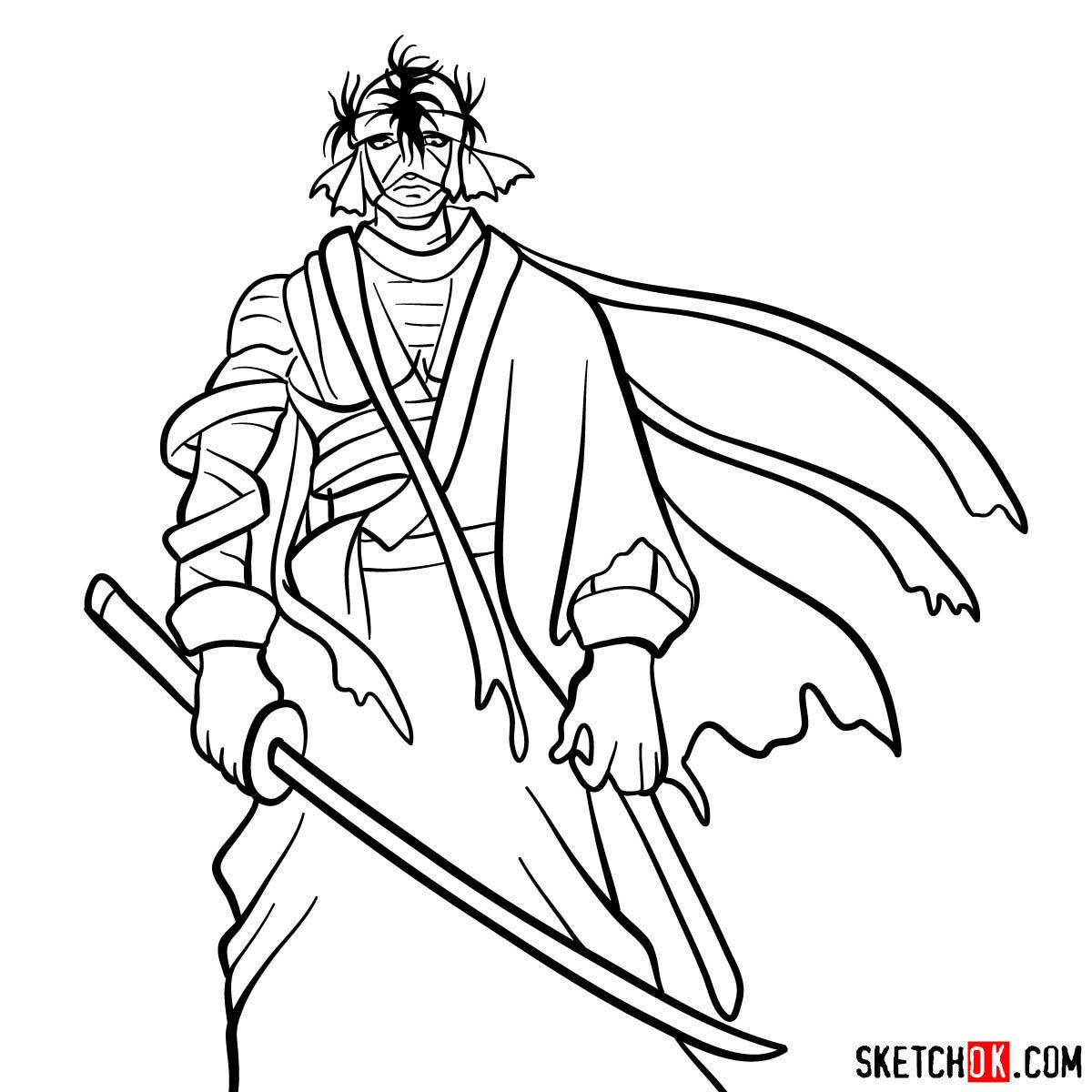 How to draw Shishio Makoto | Rurouni Kenshin