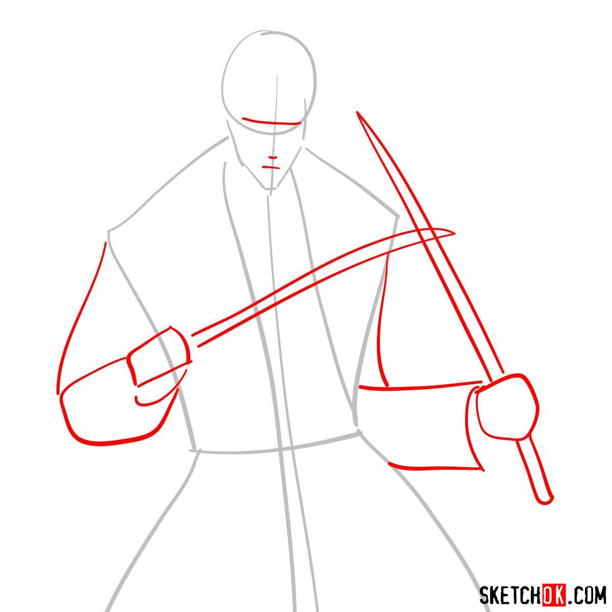 How to draw Shinomori Aoshi   Rurouni Kenshin - step 02