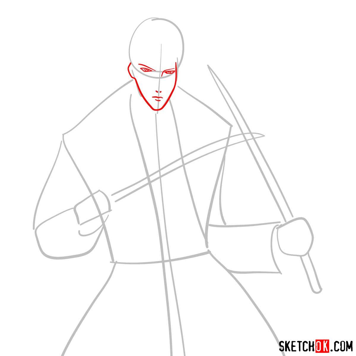 How to draw Shinomori Aoshi | Rurouni Kenshin - step 03