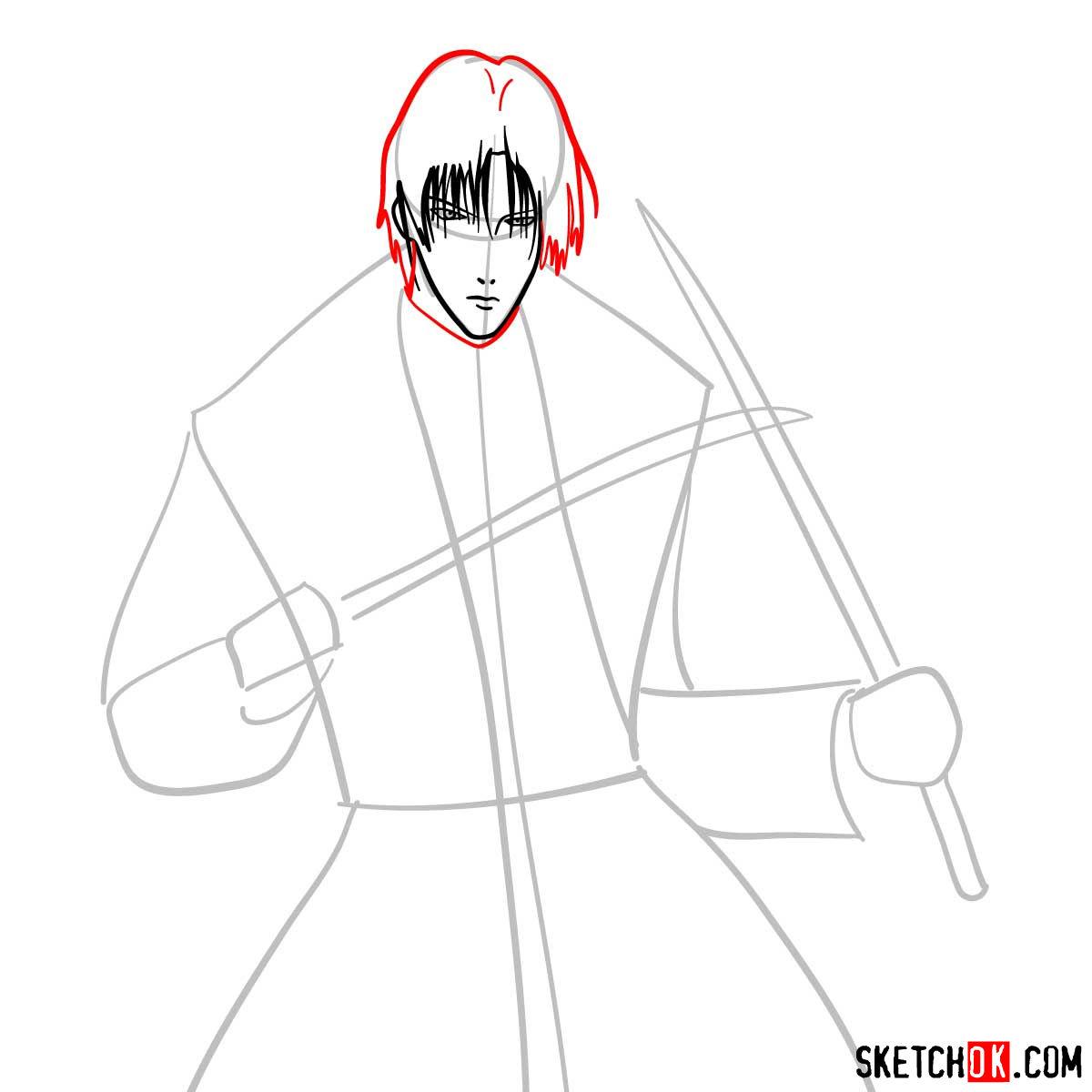 How to draw Shinomori Aoshi | Rurouni Kenshin - step 05