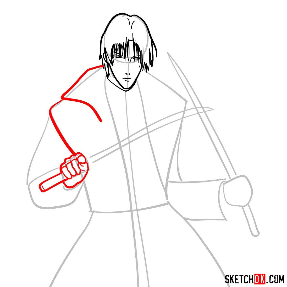 How to draw Shinomori Aoshi | Rurouni Kenshin - step 06
